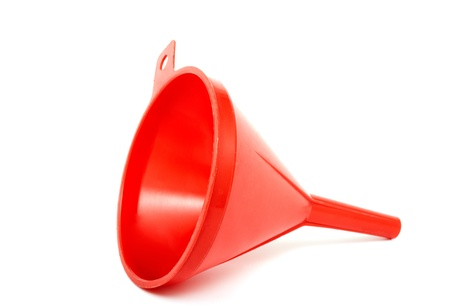 stricture: Plastic funnel on a white background Stock Photo