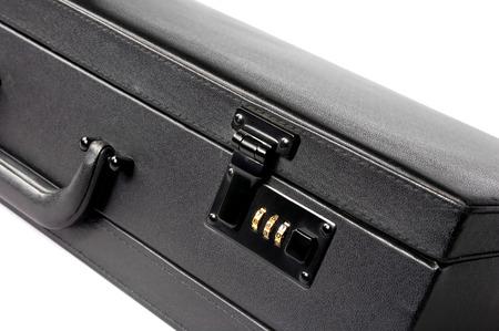 attache case: Black attache case isolated on a white. Stock Photo