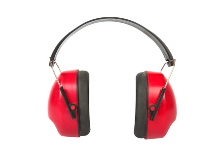 hearing protection: Red working protective headphones isolated on a white background  Stock Photo
