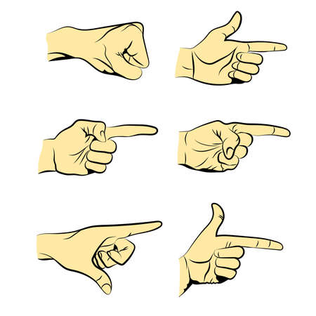 Set of Flat Line Illustrated Hands Isolated on White Background. Vector Illustration.