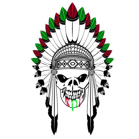 Skull with Indian feather hat