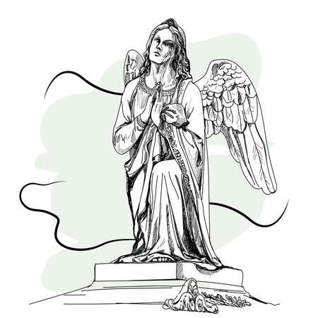 Marmeren beeldhouwwerk van de verdrietige engel. Vector illustratie