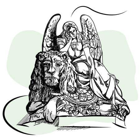 Engels- und Löwestatue bei Basilikadi Santa Croce di Firenze in Florenz, Italien. Skizzieren Standard-Bild - 80160092