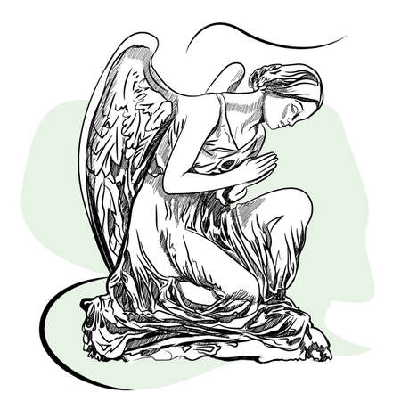 Marble sculpture of the grieving angel. Sketch Illustration