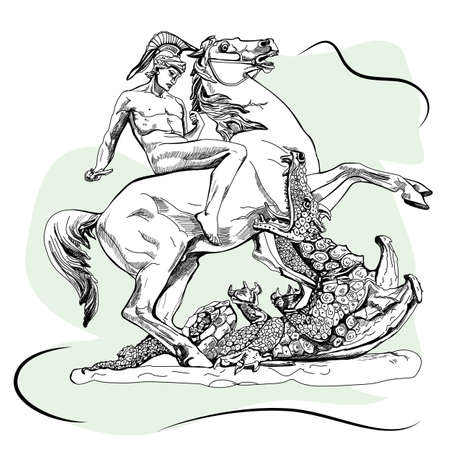 Saint George with a sword and the dragon. Sketch