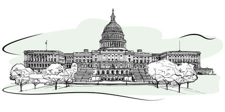 national congress: The west front of the United States Capitol. Sketch