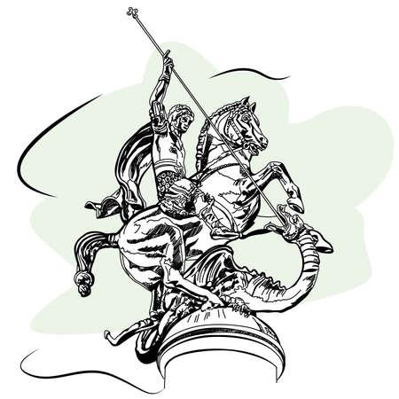 St George & Dragon Monument in Tbilisi, Georgia. Sketch