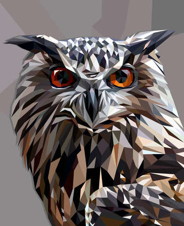 Owl in low poly style 版權商用圖片 - 80336299