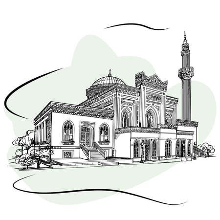 De Hamidiye-moskee is een Ottomaanse keizerlijke moskee in de wijk Istanbul, Turkije, op weg naar het Yildiz-paleis. Schetsen.