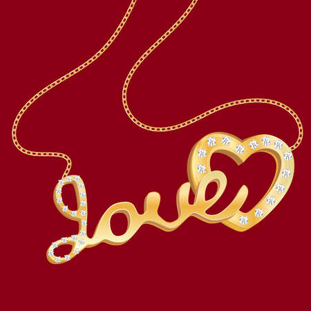 Gold pendant in the form of a heart with the inscription love on a red isolated background. Vector illustration. Illustration