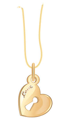 shiny hearts: Gold necklace in the form of a heart with a keyhole. On a white background with an inscription love.