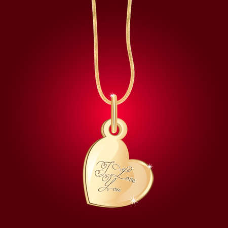 Gold necklace in the form of a heart with a keyhole. On the red background with the inscription I love you.