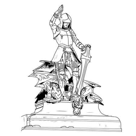 그것은 용을 죽인 세인트 조지의 16 세기 보석 박힌 동상입니다. 독일 뮌헨의 재무 박물관. 흰색 배경에 그리기