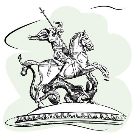 드래곤을 살해하는 세인트 조지의 조각. 모스크바에서 Manezhnaya 광장 러시아. 스케치