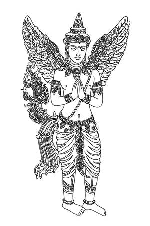 Thai oriental mythical creature female with angel wings, vector Illustration