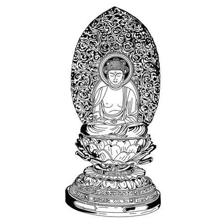 Beautiful statue of a Buddha figure. A drawn black and white element. Illustration