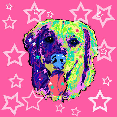 colorfully: Dog pop art. On a pink background with stars. Vector illustration