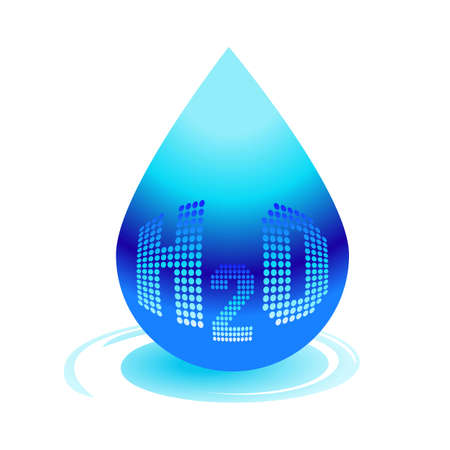 molecula de agua: H2O Water drop icon. Vector concept illustration for design.