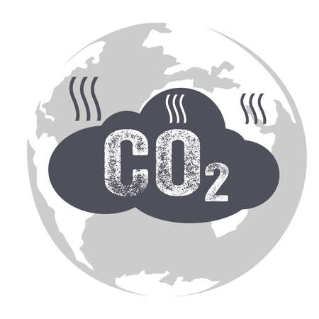 Co2 emissions icon cloud, carbon dioxide emits symbol, pollution concept smog, damage from fumes pollution, pollution bubbles, combustion products, isolated modern design sign