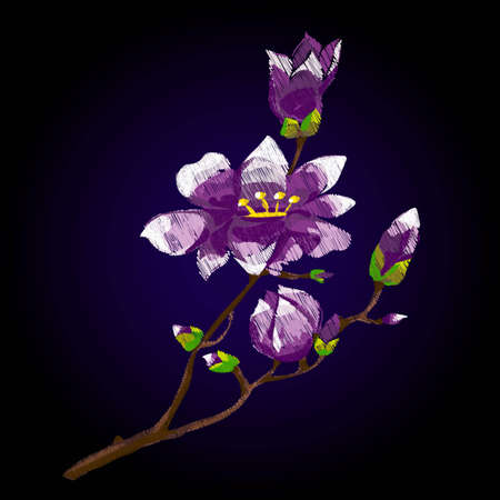fancywork: Flower embroidery, fashion design. Purple lotus in Chinese style on a dark background
