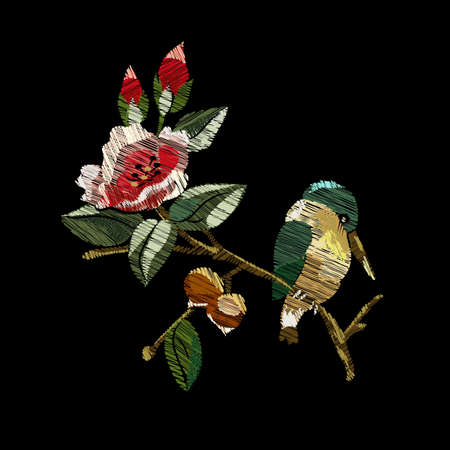 Ethnic embroidery birdie singing on a branch and red roses with buds floral design in oriental style. Fashionable embroidery stitch patterns on black for textiles, traditional folk decor. Vector illustration on a black background. Illustration