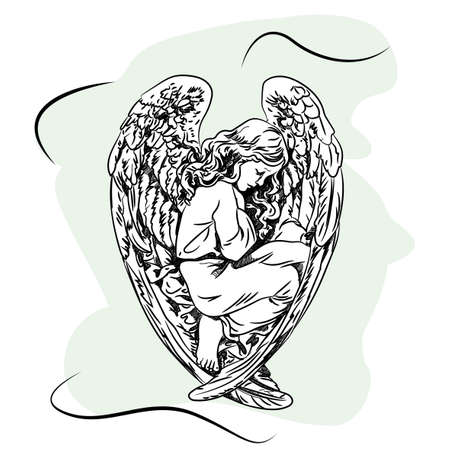 Marble sculpture of a religious sleeping angel child with wings. Sketch Zdjęcie Seryjne - 82447358