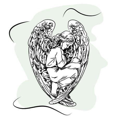 Marmor Skulptur eines religiösen schlafenden Engel Kind mit Flügeln. Skizzieren Standard-Bild - 82447358