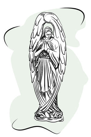 Marble sculpture of a religious sorrowful angel. Sketch Ilustracja