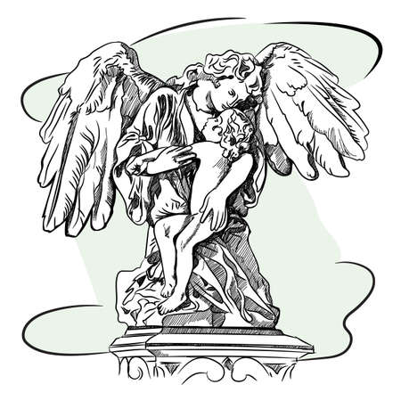 Marble sculpture of a religious mourning angel with wings, mourning a child. Sketch