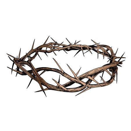 Kroon van Christus op een witte achtergrond. Schets illustratie.