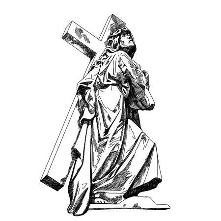 Marble Recoleta Cemetery sculpture Jesus Christ, the Son of God bears the cross before the crucifixion. Vector illustration Illustration
