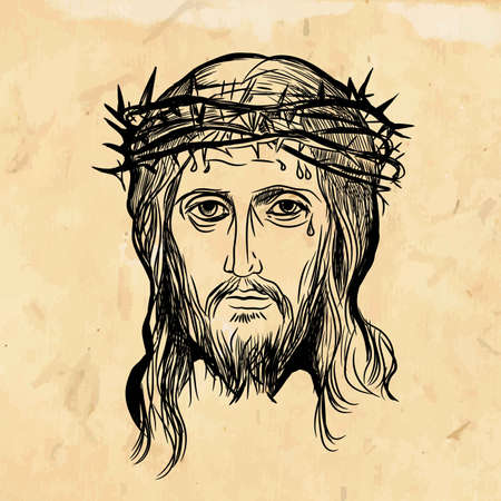 Son of God Jesus Christ, with a crown of thorns on his head, a religious symbol of Christianity on a vintage Biblical old background. Vector illustration