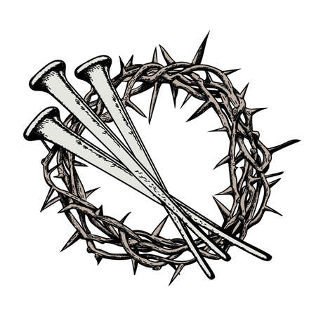 The crown of thorns with the nails of Jesus Christ. Symbols of Christianity. Vector drawing.