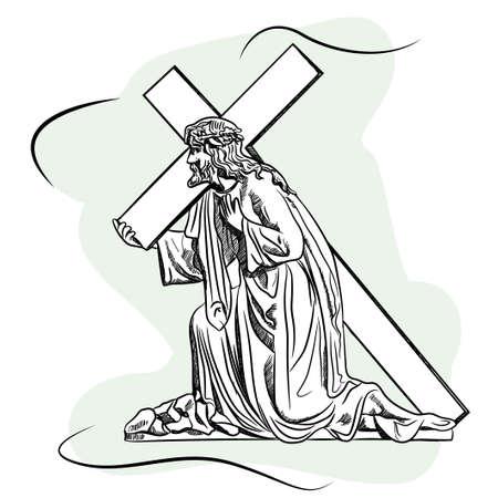 Sculpture en marbre Jésus Christ, le Fils de Dieu porte une croix avant la crucifixion. Illustration vectorielle