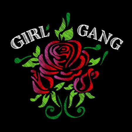 Girl Gang 슬로건 패션 줄무늬, 배지 독점 소녀 강 로즈 나뭇잎 소녀 락 소녀, 인쇄 된 그래픽 디자인으로 t- 셔츠에 대 한 옷. 벡터 스티커, 자 수, 고 대 품 일러스트