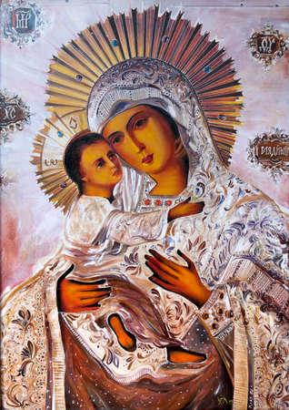 Maagd Maria met het kindje Jezus. Stockfoto
