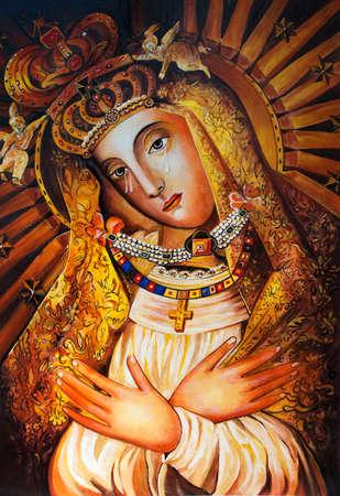 Het ikoon van de moeder van God van Ostrobram. Stockfoto