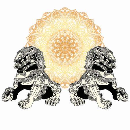 Chinese mythical creatures. Lion dog of china. Illustration