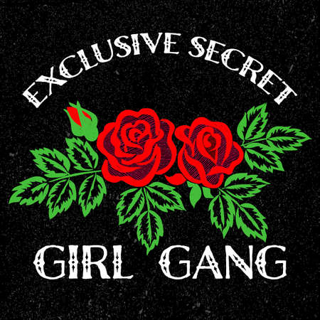 Girl Gang Slogan Fashion stripes, badges Exclusive girl Gang Rose with leaves Rock girl gangs, clothes for T-shirt with printed graphic design. Vector A set of stickers, embroidery, applique in the style of ancient breeds.