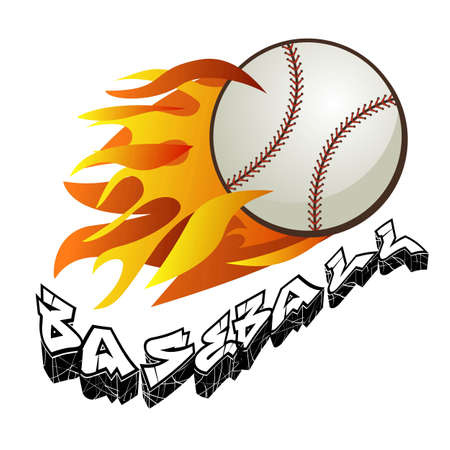 A flaming baseball ball on fire flying. Vector and sport icon. Illustration