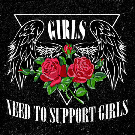 Girl Need to Support Girls Slogan, clothes for T-shirt with printed graphic design. Stickers, embroidery, applique in the style of ancient breeds. Background rose Ilustrace