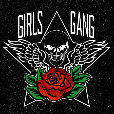Girl Need to Support Girls Slogan, clothes for T-shirt with printed graphic design. Stickers, embroidery, applique in the style of ancient breeds. Background rose 向量圖像