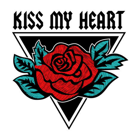 Kiss My Heart rose printed graphic design. Vector A set of stickers, embroidery, applique in the style of ancient breeds.
