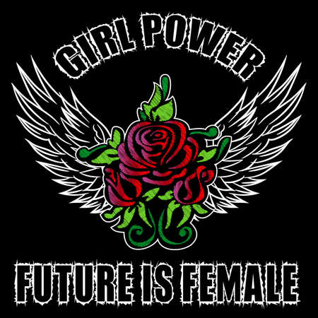 Girl Power Slogan Fashion stripes, badges Exclusive girl Gang Rose with leaves Rock girl gangs, clothes for T-shirt with printed graphic design. Vector A set of stickers, embroidery, applique in the style of ancient breeds. Ilustrace