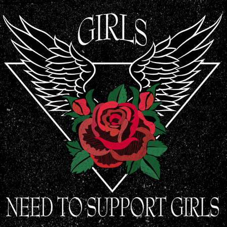 Girl Need to Support Girls Slogan, clothes for T-shirt with printed graphic design. Stickers, embroidery, applique in the style of ancient breeds. Background rose Vectores