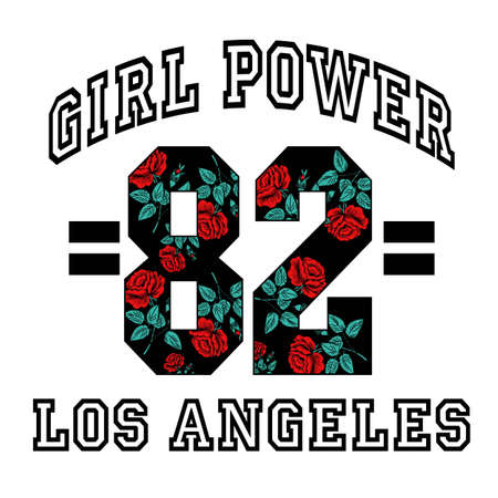 Girl Power 82 Los Angeles Slogan Fashion stripes, badges Exclusive girl Gang Rose with leaves Rock girl gangs, clothes for T-shirt with printed graphic design. Vector A set of stickers, embroidery, applique in the style of ancient breeds.