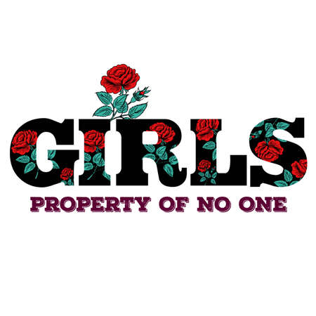 Girl Slogan Fashion stripes, badges Exclusive girl Gang Rose with leaves Rock girl gangs, clothes for T-shirt with printed graphic design. Vector A set of stickers, embroidery, applique in the style of ancient breeds.