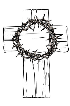 A holy cross and a crown of thorns with the nails of Jesus Christ. Symbols of Christianity. Vector drawing. Illustration