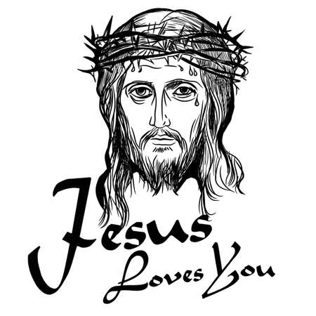 Jesus Loves You. Design element for housewarming poster, t-shirt design. Son of God Jesus Christ, with a crown of thorns on his head. Vector illustration.