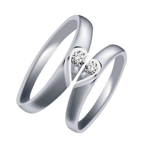 Wedding rings set of silver metal.